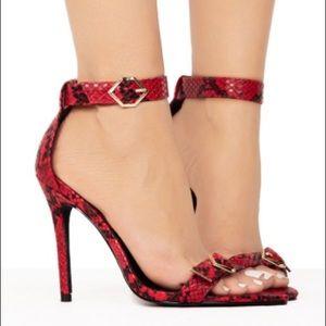 """""""URBAN LIFE"""" Snakeskin Heels in Red"""